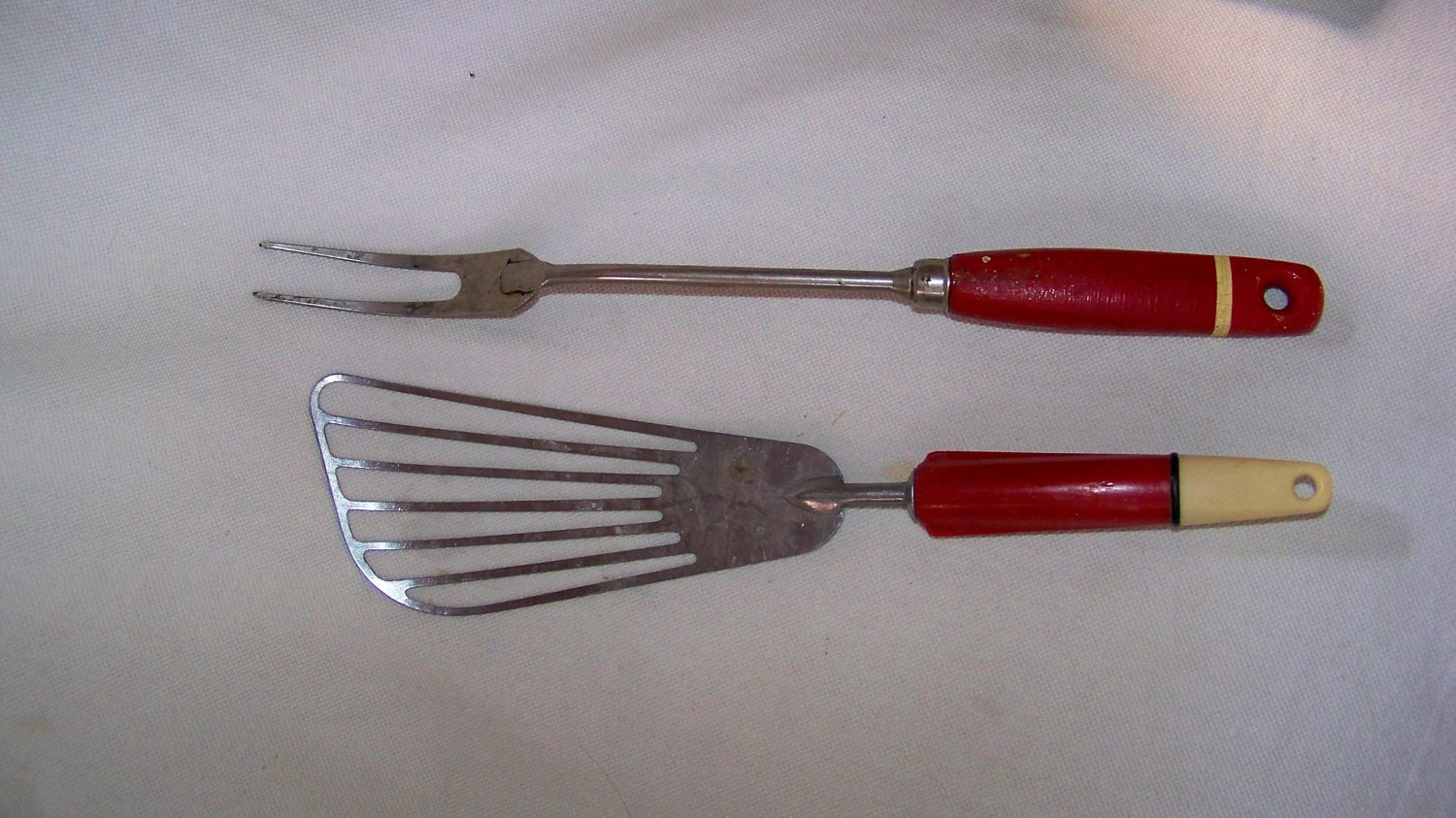 Vintage Stainless Steel Kitchen Utensils With Red Handles