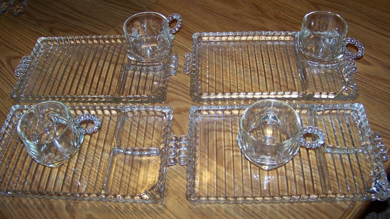 Vintage candlewick glass snack set piece beautiful