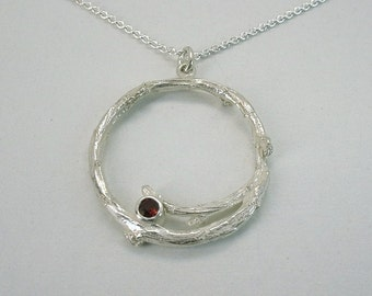 Garnet Willow Twig Pendant