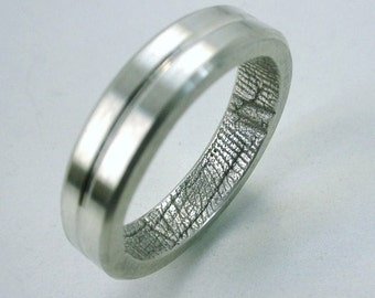 Fingerprint Ring with Bright Groove and Facets Sterling Silver