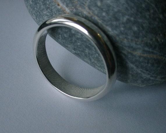 Custom Fingerprint / Heart Line Ring / Rounded / Sterling Silver