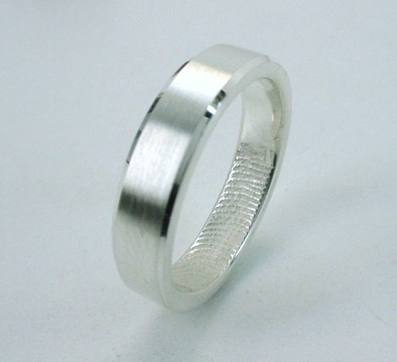 Fingerprint Ring, Sterling Silver, flat surface with facets