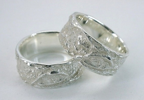 Leaf Bark Wedding Bands with flat Profile, Sterling Silver