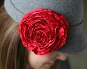 Red Rossette Brooch or Clip