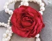 Elegant Handmade Red Rose Brooch or Clip