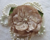Taupe Flower Hair Clip or Brooch