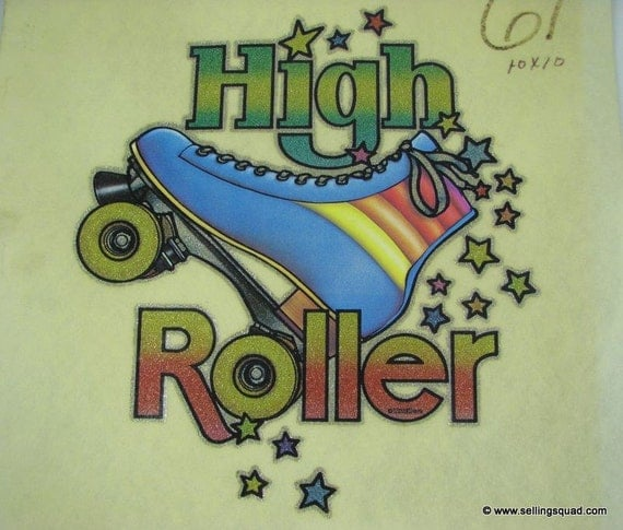 Vintage 70 39 s glitter vinyl roller skating t shirt heat for 70 s t shirt transfers