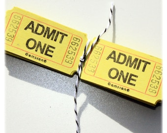 "100 yellow ""admit one"" carnival tickets"