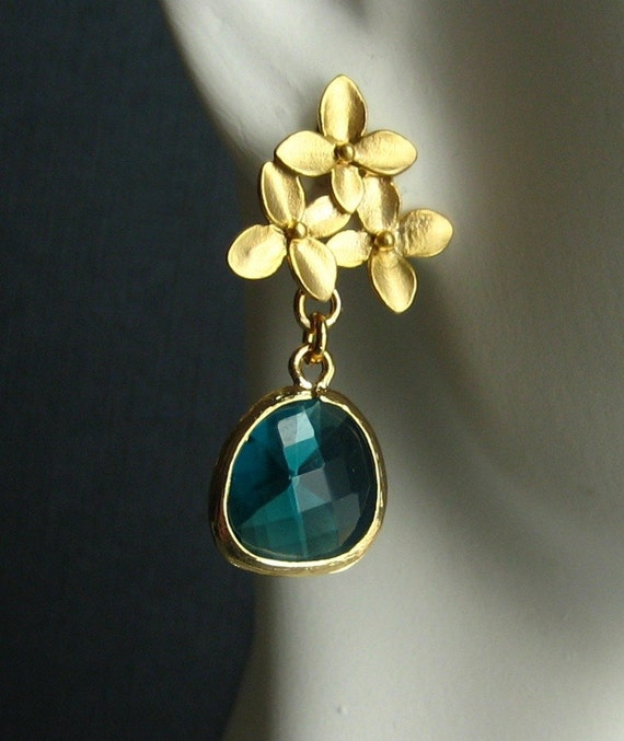 cherry blossoms with faceted sea green glass 14K gold earrings