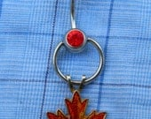Canadian Maple Leaf: Navel Piercing- Red Gem