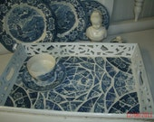 Blue and White Mosaic Serving Tray