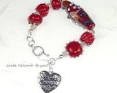 Bracelet of Red Lampwork Beads