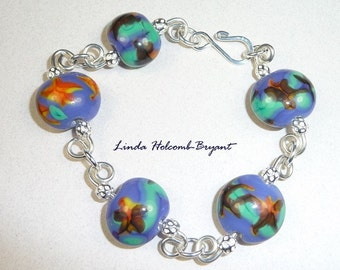 Silver Bracelet of Lampwork Glass Beads