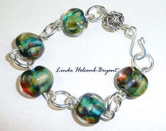 Bracelet of Blue Green Lampwork Glass Beads