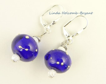 Royal Blue Handmade Lampwork Glass Beads with Silver Earrings