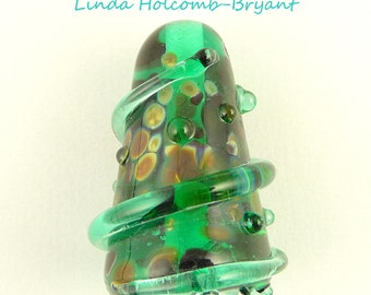 Green Lampwork Glass Focal Bead
