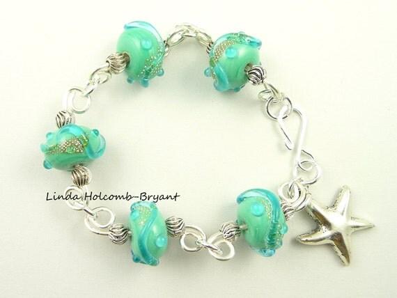 Aqua Bracelet with Star Charm