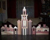 Wood building blocks of red cedar wood, cherry wood, walnut wood and sweet gum wood (56 pc. set of wood building blocks)