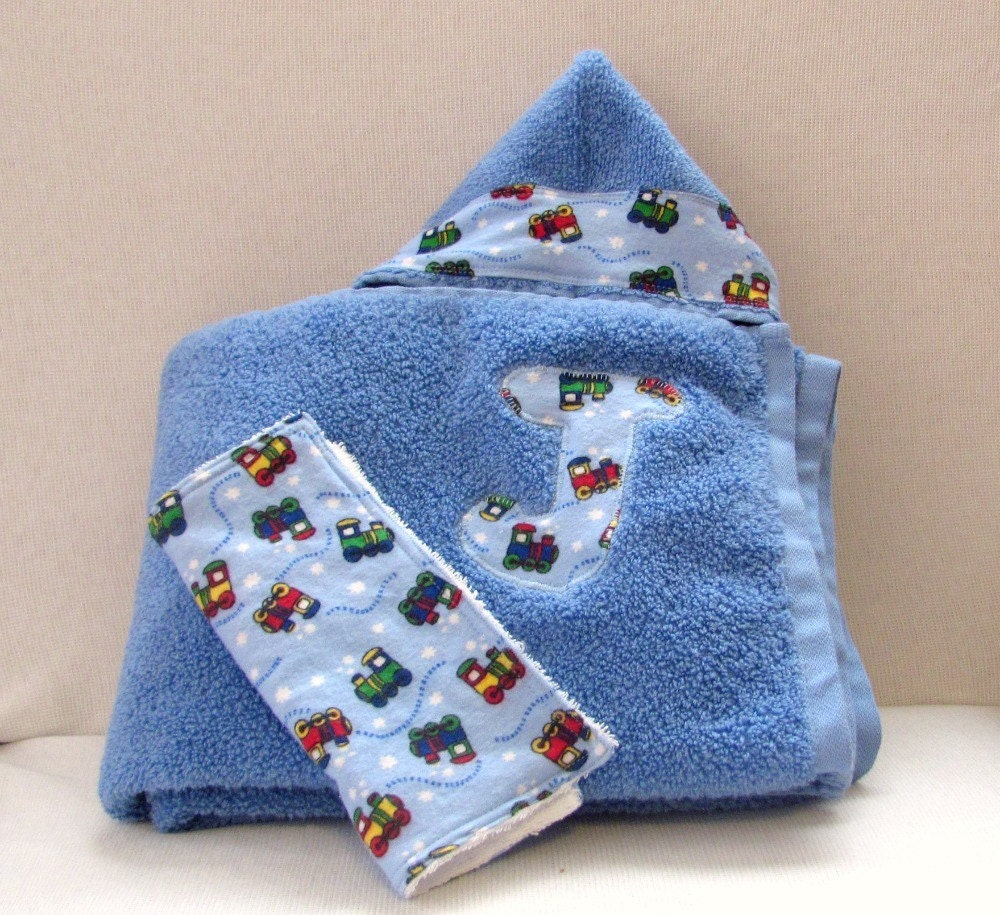 Personalized Hooded Baby Towel Set Blue With By PamsBabyBakery