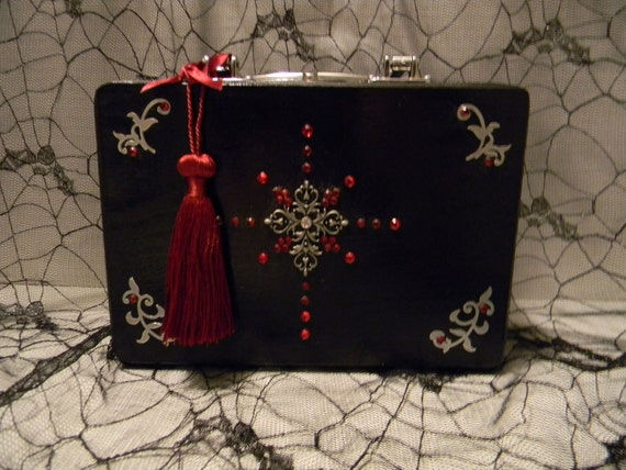 SALE- Red Jewel Cross- Goth Wood Box Purse