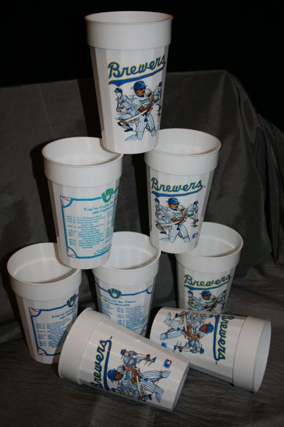 Retro Milwaukee Brewer Plastic Tumblers from 1991 Set of 8