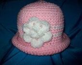 Lovely Pink/White Flowered Baby Bowler Hat (3-6 months)