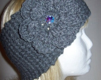 Lovely Crocheted Grey Headband/Neckwarmer in wool/acrylic