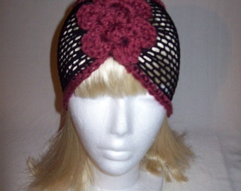 Lovely Summer Stretch  Headband/Headwrap Black With Flower Antique Rose