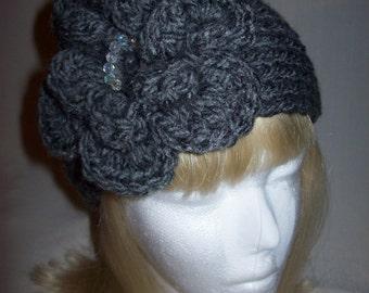 Lovely Chunky  Grey Flowered Headband