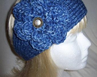 Lovely Denim Blue Flowered/Headwrap Headband READY TO SHIP