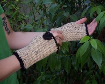 Lovely Speckled Tan  Fingerless Gloves