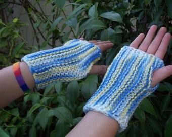 Lovely Blue, Yellow and White Fingerless Gloves