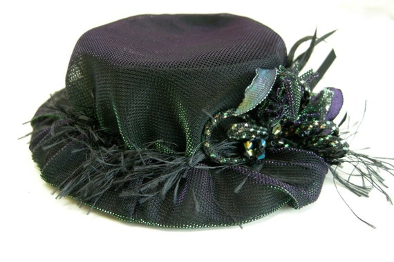SALE PRICED Doll clothes shimmery purple green black hat