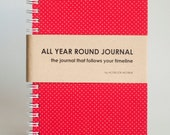 All Year Round Timeless Journal / Planner (Self-filled dates, fabric wrapped) - Red Polkadots
