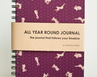 Weekly Planner A5 Size (Undated) All Year Round Timeless Journal - Easter Bunnies In Purple Land