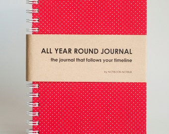 Weekly Planner A5 Size (Undated) All Year Round Timeless Journal - Red Polkadots