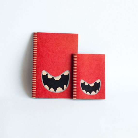 SET OF 2 : Kraft Paper & Saddled Stitched Notebooks - Red Monster