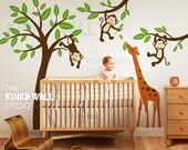 Nursery Must Have - Monkeys on Tree with Giraffe - KK127 - Children Baby Kid Boy Girl Playroom