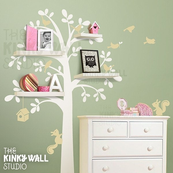 New Shelving Tree With Birds Amp Squirrels Vinyl By Kinkywall