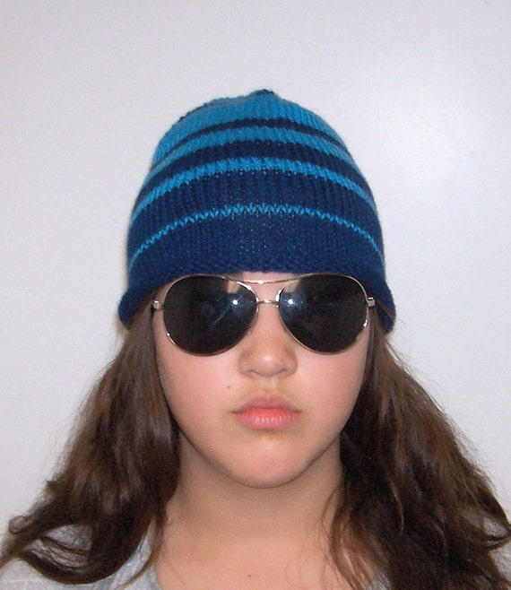 Navy blue and turquoise wool striped beanie