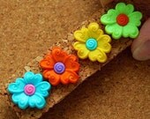 Colorful Flower Push Pin Thumbtacks with Personality - 4 fun thumbtacks for your bulletin board. Great gift idea under 5 dollars