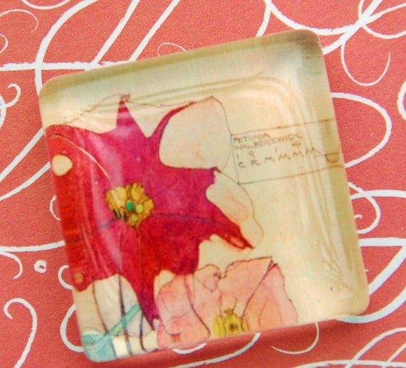 Glass magnet - extra large - with a pink petunias. Great Christmas stocking stuffer - gifts under 5 dollars