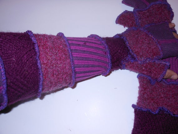 Purple Recycled Sweater Arm Warmers
