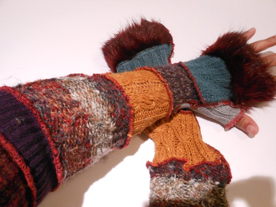Recycled Sweater Sleeves Extra Long Fur Cuffs Red Purples