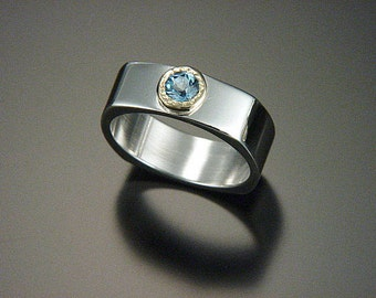 square ring  sterling silver 18kt gold blue topaz ring
