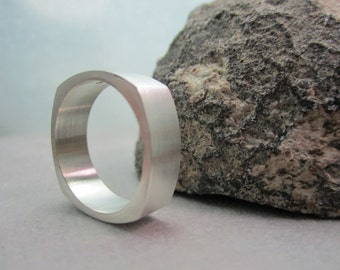 Square wedding band silver square ring
