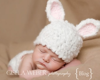 """Baby Hat Pattern, Newborn Bunny Hat Pattern """"Fufu"""" Hat & Matching Diaper Cover Pattern -Stand up Ears"""