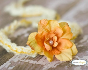 Yellow Flower Tieback,  Yellow Baby Halo, Yellow Newborn Tieback, Baby Photo Props