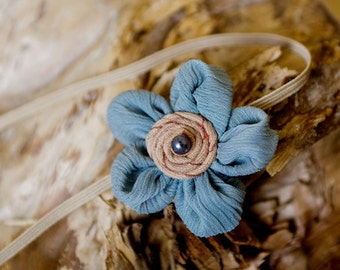 Blue Baby Headband, Children Headband, Infant Headband, Petite Headband, Pearl Headband, Blue Headband, Also Great as Photo Prop