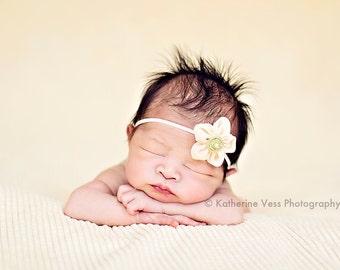 Yellow Baby Headband, Tiny Newborn Headband, Small Baby Headband, Green Baby Headband, Cute Baby Photo Prop